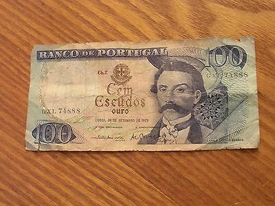PORTUGAL 100 Escudos Banknote World Money Currency Europe BILL 1978 Note
