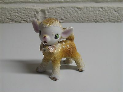 Vintage 50s Ceramic Sugar Coated Spotted Baby Deer Fawn Figurine JAPAN