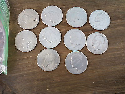 LOT OF 10 EISENHOWER (Ike)  DOLLAR COINS CIRCULATED RANDOM DATES