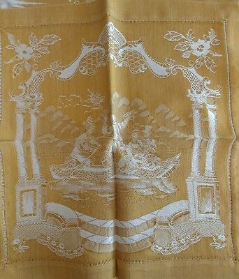 Antique Tablecloth & Napkins Brocade French or Italian Figural  STUNNING (#27)