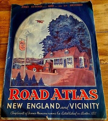 C. LATE 1930s ROAD ATLAS NEW ENGLAND JENNY GASOLINE 2 ROUTES TO NYC WORLD'S FAIR