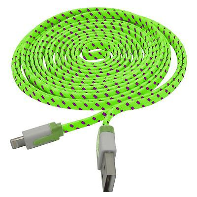 50 x Braided Sync USB Data Charger Cable Cord 10FT for iPhone 5S 5 5C 6 Green