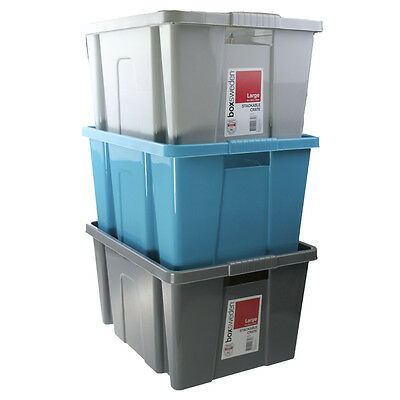 12 x Stackable Crate Large Plastic Storage Tub Container Bin Grey Blue