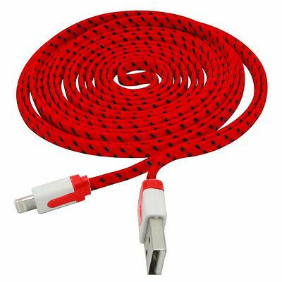 50 x Braided Sync USB Data Charger Cable Cord 10FT for iPhone 5S 5 5C 6 Red