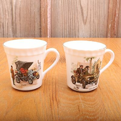 2 Crown Staffordshire Mugs Rolls Royce and Fiat Fine Bone China Made in England