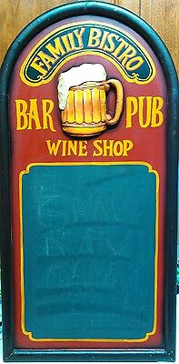 Antique Vintage family Bistro bar Pub Chalk Board Bar or Restaurant Sign Menu BG