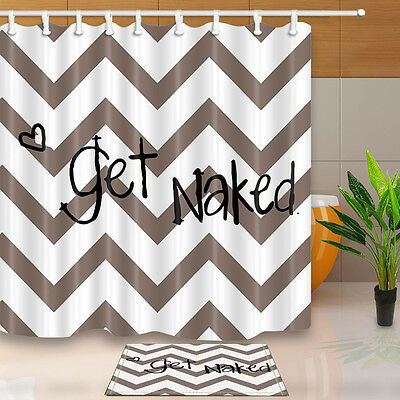 Get Naked Word Bathroom Fabric Shower Curtain Waterproof Polyester Hooks Mat Set