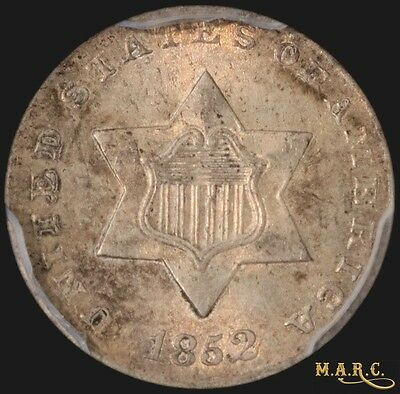 1852 MS63 PCGS 3C Three Cent Silver with Nice Light Attractive Toning!! F/S MARC