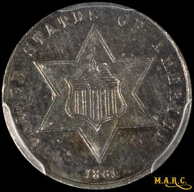 1861 AU55 PCGS 3C Three Cent Silver with Deep Iridescent Toning!! Free Shipping!