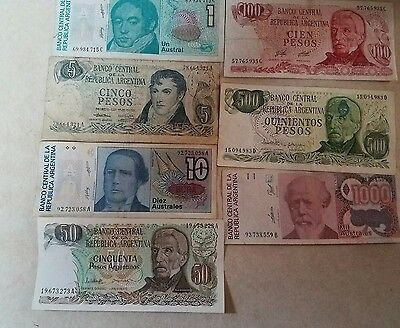 ARGENTINA - Set of 7 Banknotes Notes  1 5 10 50 100 500 a1000 AUSTRALES