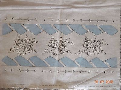 Vintage VOGART Blue TINTED Stamped Embroidery Runner DAISIES