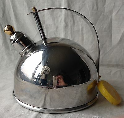 Belgique Tea Kettle Retro Gold Accent Stainless Steel 2 Quart Whistling Belgium