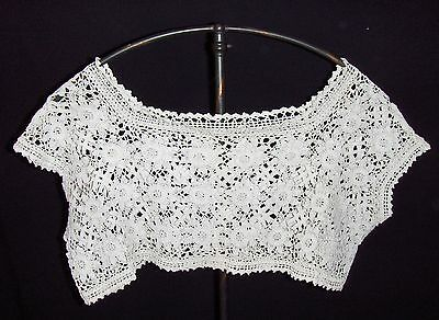 """ANTIQUE CROCHET TOP LACE Dress Nightgown Camisole Off White Floral 10 x 20"""""""