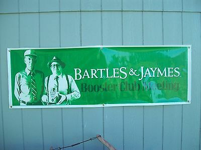 Vtg Bartles & Jaymes Booster Club Meeting 6' x 2' Advertising Banner Man Cave
