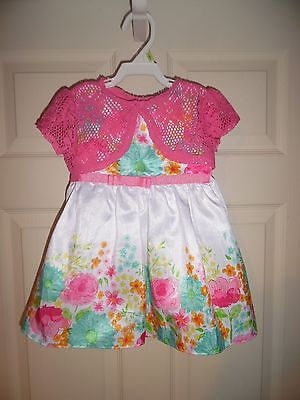 EEUC Toddler Girls Youngland Baby dress Size 24 months Pink White Floral 2 piece