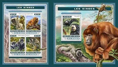 Z08 NIG16616ab NIGER 2016 Monkeys MNH Mint Set