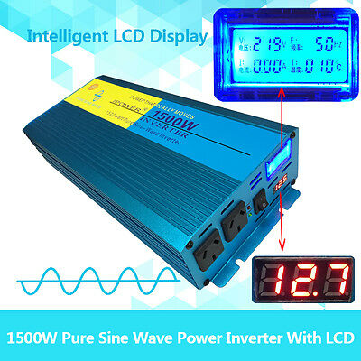 Pure Sine Wave Power Inverter 1500W(3000W Max) DC 12 V TO AC 240V D LCD Display