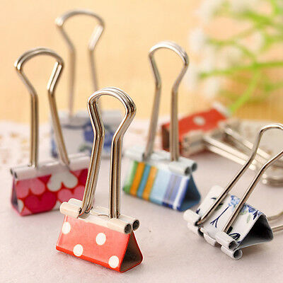 8PCS 19mm Metal Binder Clips Folder Multiple Flower Color File Paper Organize