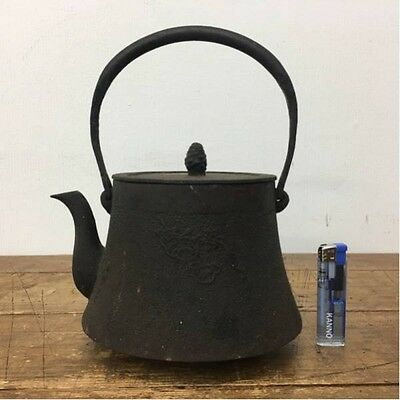 Japanese Antique KANJI old Iron Tea Kettle Tetsubin teapot Chagama 211