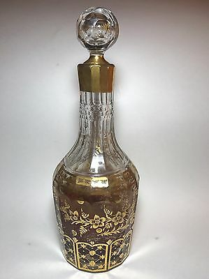 ANTIQUE FRENCH DECANTER WITH GOLD DECORATION CUT TO CLEAR 19th Century
