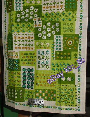 OLD STOCK unused PARISIAN PRINTS green FLORAL PATCHES Linen KITCHEN Towel USA fs