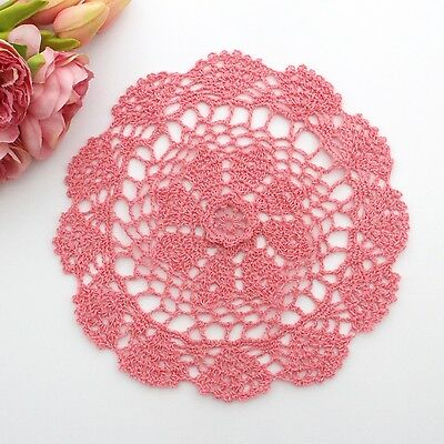 Crochet doily in watermelon pink 25 cm for millinery , hair and crafts