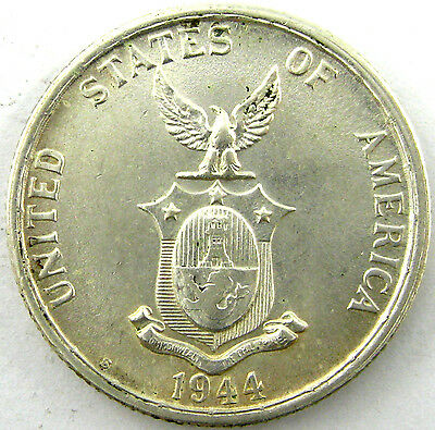 1944-S  Philippines  50 Centavos  Km# 183  Silver  Uncirculated  Nice!!