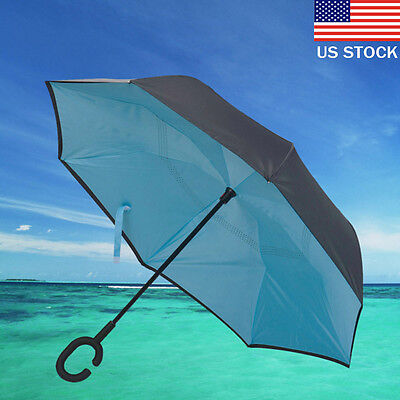 Modern Upside Down Reverse Umbrella C-Handle Double Layer Inside-Out Colors US