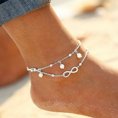INFINITY charm & White Pearl double chain ANKLET Silver or Gold beach barefoot