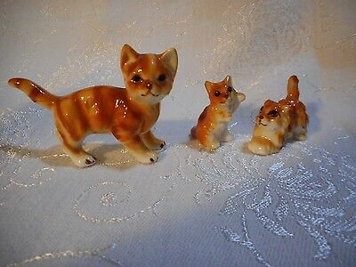 Vintage Mother Cat & Playful Kittens 3 pc set Ceramic Hand Painted Features