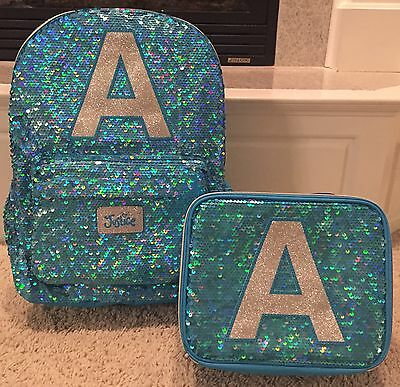 """Justice NWT Sequin Sparkle """"A"""" Backpack & Lunch Tote.  Cute!"""