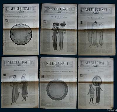 Vintage NEEDCRAFT 6 Magazines 1913-15 Sewing Women's Fashion Embroidery Costume