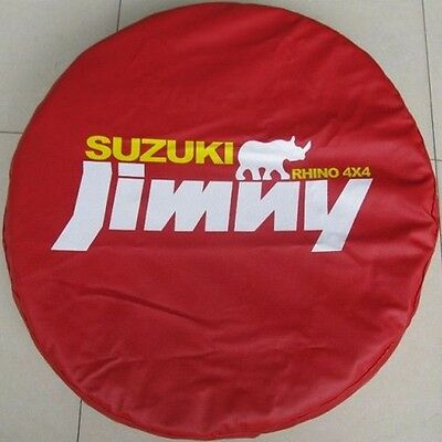 Red Suzuki Jimny Rhino 4x4 Spare Wheel Tire Tyre Soft Cover Bag Protector 26~27S