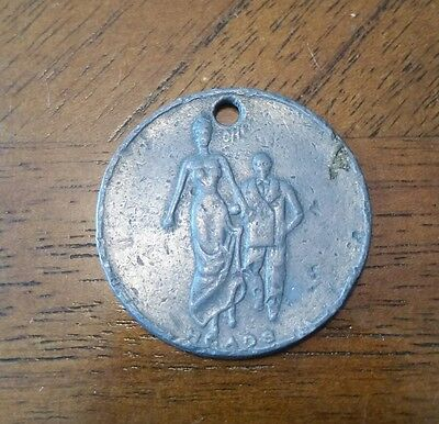 Vintage Oh Ah Naughty Heads & Tails Token Nudity Risque Adult Pendant