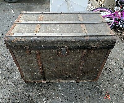 Large antique French Steamer Trunk Chest