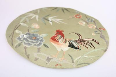 VINTAGE CHINESE SILK EMBROIDERY with STITCH NEEDLEWORK of ROOSTER FLORAL