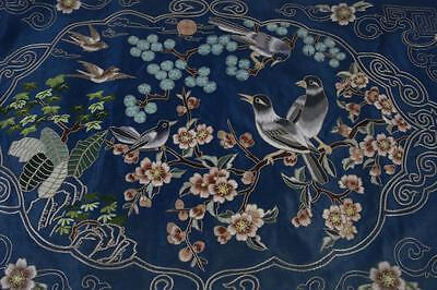 VINTAGE CHINESE SILK EMBROIDERY with STITCH NEEDLEWORK of  SPARROW AND PLUM