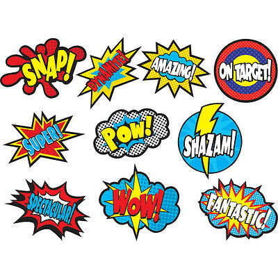 30 x Superhero Sayings Cut Out Cards.  Mixed Colour Designs.
