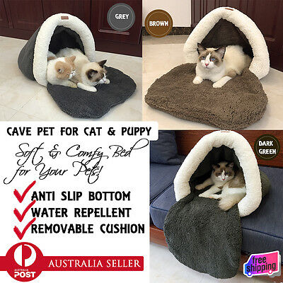 NEW Pet Bed Igloo Cave Cat Puppy Soft Snuggle House Portable Hut Sleeping Nest