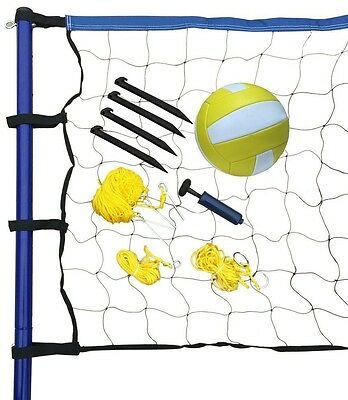 Portable Volleyball Net Post Ball Pump Set Outdoor Sports Game Carry Bag Black