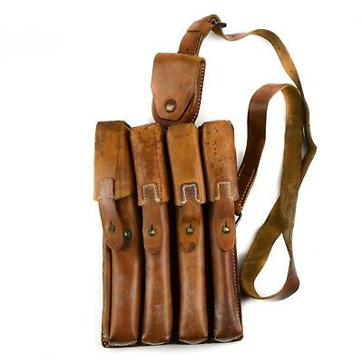 Original Yugoslavia Serbian army pouch M65 SMG leather ammo 4 cell magazine case