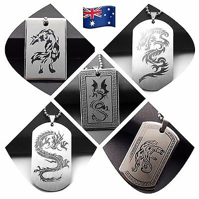 OZ Titanium Stainless Steel Dog Tag Necklace TIGER / WOLF / DRAGON & Chain SN14