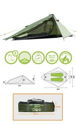 2 Man Lightweight Waterproof Camping Tent Alpine Greeny 317 x 240 x 100cm -