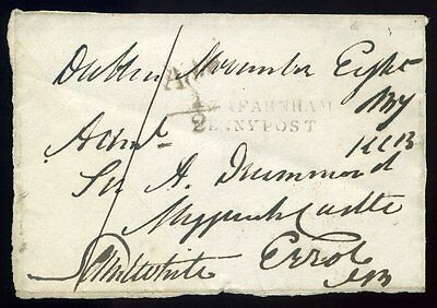 FRONT 1837 RATHFARNHAM/PENNY POST Dublin to Errol Additional ½d