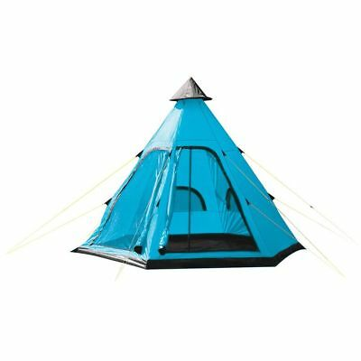 Yellowstone 4 Man Tent - Tipi Tent - Blue/Plum/Red