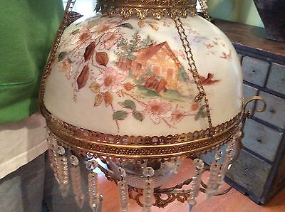 Antique Victorian Brass Glass Prisms Hanging Oil Lamp Electrified Pat Date 1880
