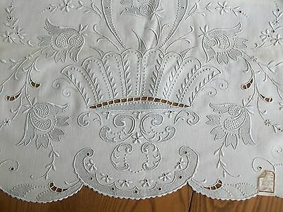 Unused Vintage Full Sz Flat Sheet ~ Hand Embroidery ~ Made In Madeira Portugal