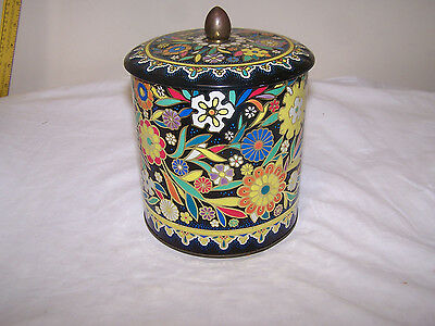 Vintage DAHER Decorative Floral Tin Box Container made In England Embossed Metal
