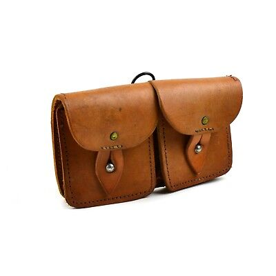 Original French army magazine pouch Brown leather ammo dual bag mag