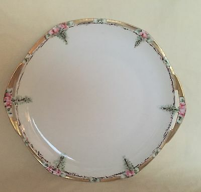 Antique MZ Austria Porcelain Handled Cake Plate Hand Painted ROSES & GOLD